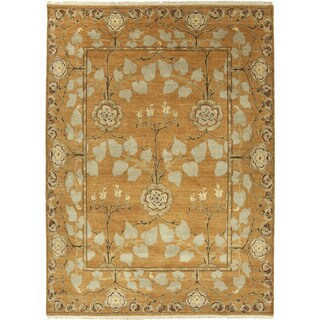 Hand Knotted Floral Pattern Orange/ Green Wool Area Rug (4' x 6')