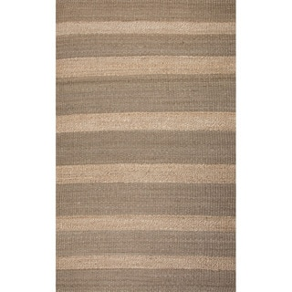 Handmade Abstract Pattern Gold/ Grey Jute Area Rug (8' x 10')
