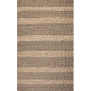 Handmade Abstract Pattern Gold/ Grey Jute Area Rug (2'x3')