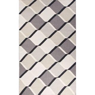 Flat Weave Geometric Pattern Blue/ Grey Wool Area Rug (8' x 11')