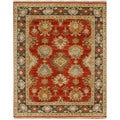 Hand Knotted Oriental Pattern Red/ Brown Wool Area Rug (8' x 10')