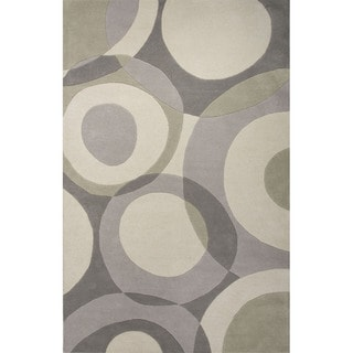 Hand Tufted Geometric Pattern Grey/ Ivory Wool Area Rug (8' x 10')