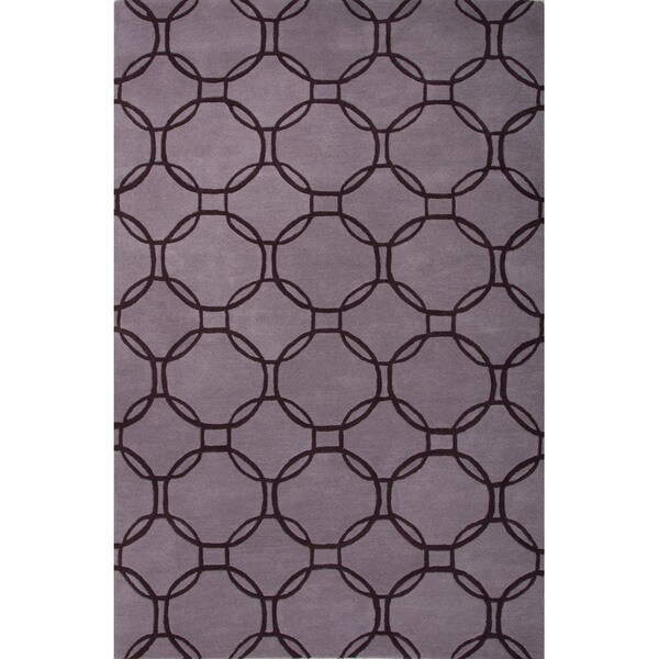 Hand Tufted Geometric Pattern Purple/ Beige Wool Area Rug (2' x 3')