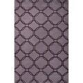 Hand Tufted Geometric Pattern Purple/ Beige Wool Area Rug (2' x 3')