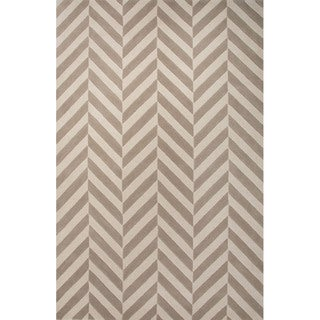 Hand Tufted Geometric Pattern Beige/ Ivory Wool Area Rug (8' x 10')