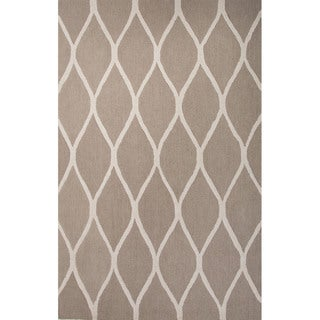 Hand Tufted Geometric Pattern Brown/ Beige Wool Area Rug (8' x 10')