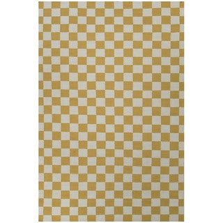 Flat Weave Geometric Pattern Gold/ Blue Wool Area Rug (9' x 12')