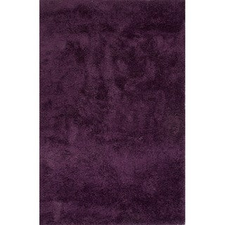 Solid Pattern Purple Polyester Shag Rug (2' x 3')