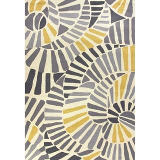 Handmade Abstract Pattern Gold/ Grey Polypropylene Area Rug (7'6 x 9'6)