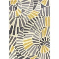 Handmade Abstract Pattern Gold/ Grey Polypropylene Area Rug (5' x 7'6)
