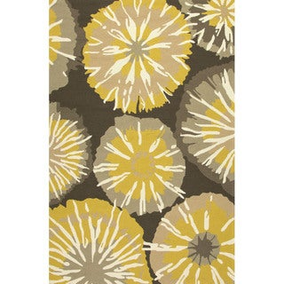Abstract Pattern Gold/ Brown Polypropylene Area Rug (7'6x9'6)