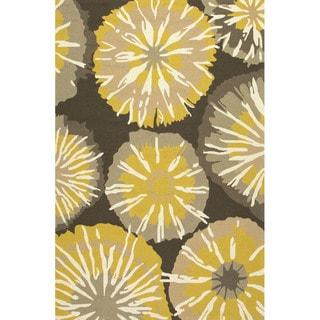 Handmade Abstract Pattern Gold/ Brown Polypropylene Area Rug (2' x 3')