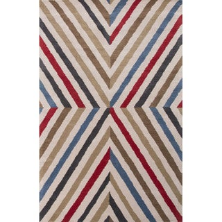 Hand Tufted Geometric Pattern Multi/ Red Wool Area Rug (8' x 11')