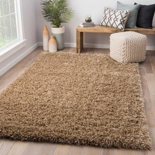 Solid Pattern Brown Wool/ Polyester Shag Rug (9' x 12')