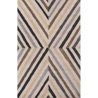 Hand Tufted Geometric Pattern Multi/ Black Wool Area Rug (8' x 11')