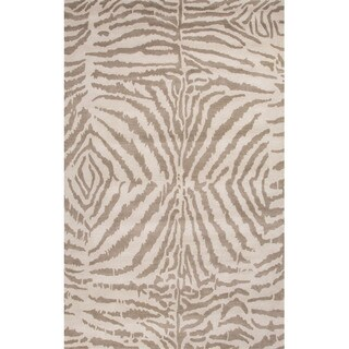 Hand Tufted Animal Pattern Grey/ Ivory Wool Area Rug (8' x 11')