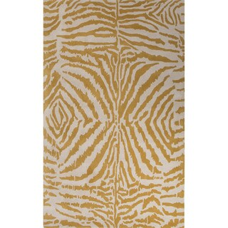 Hand Tufted Animal Pattern Gold/ Ivory Wool Area Rug (5' x 8')