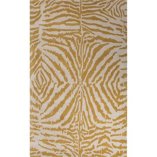 Hand Tufted Animal Pattern Gold/ Ivory Wool Area Rug (2' x 3')