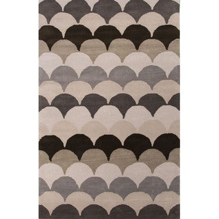 Hand Tufted Geometric Pattern Natural/ Black Wool Area Rug (8' x 11')