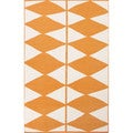 Flat Weave Geometric Pattern Orange/ Ivory Wool Area Rug (8' x 11')