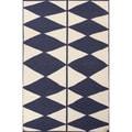 Flat Weave Geometric Pattern Blue/ Ivory Wool Area Rug (5' x 8')