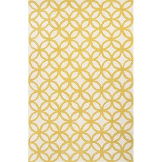 Hand Tufted Geometric Pattern Gold/ Ivory Wool Area Rug (2'x3')