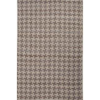 Handmade Abstract Pattern Grey/ Beige Hemp Area Rug (8' x 10')