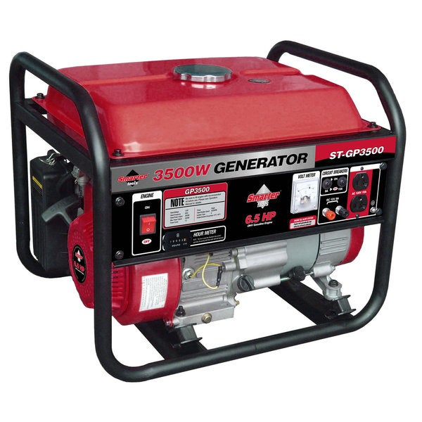 Smarter Tools 3500 Watt Portable Gas Generator with Electric Start and 12V 7aH Battery