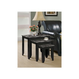 Black / Grey Marble Top 3-piece Nesting Table Set