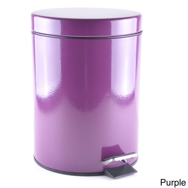 Round 5 liter powder coated metal wastebasket 16380328 for Purple bathroom bin