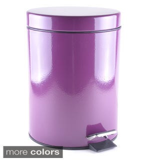 Round 5-liter Powder-coated Metal Wastebasket