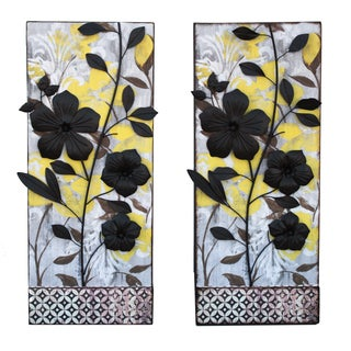 Hand-crafted Colorful Flowers Metal Wall Art