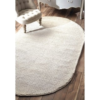 nuLOOM Handmade Braided Cable White New Zealand Wool Round Rug (6' x 6')