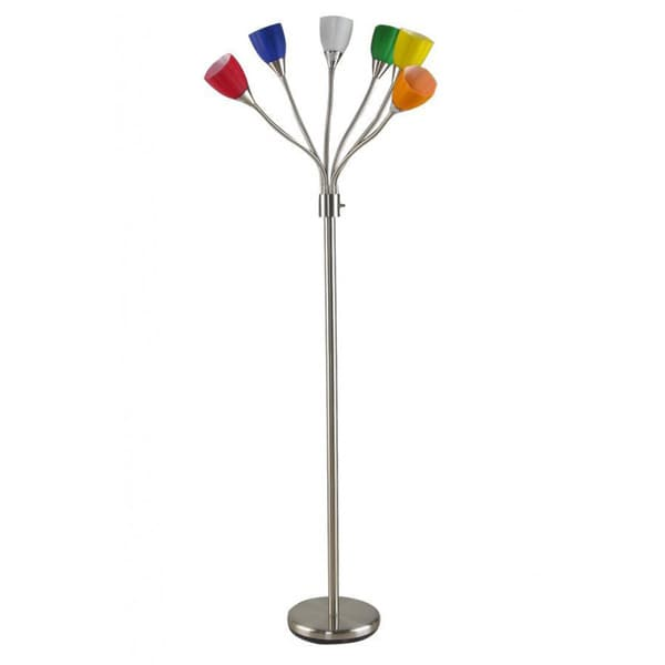 Brushed nickel 6 head multi colored glass adjustable for Multiple gooseneck floor lamp