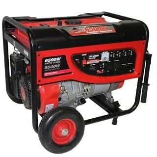 Smarter Tools 6500-watt Portable Gas Generator with No-Flat Wheels