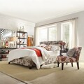 Overstock.com deals on Tribecca Home Castilian Grey Floral Fabric-wrapped Queen-size Bed