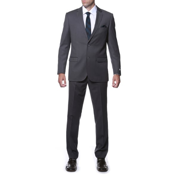 Zonettie Men's Slim Fit Charcoal Grey Striped Tone on Tone 2-piece Suit