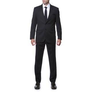 Ferrecci Men's Slim Fit Black Striped Tone on Tone 2-piece Suit