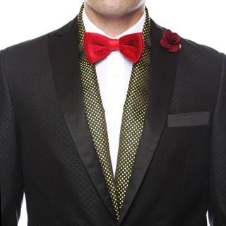 Ferrecci Men's Luxury Gold Satine Polka-dot Formal Evening Scarf