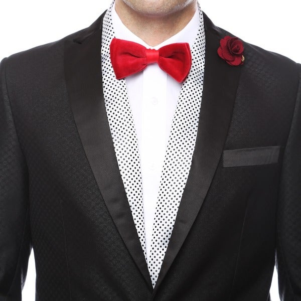 Ferrecci Men's Luxury Black / White Satine Polka-dot Formal Evening Scarf