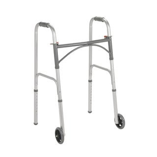 2-button Folding Steel Walker with 5-inch Wheels