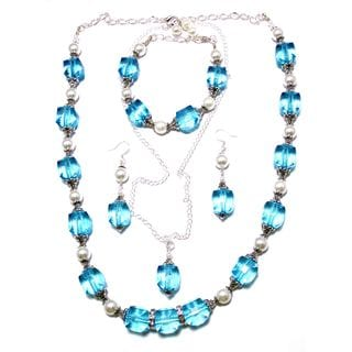 Aqua Lucite Crystals and White Glass Pearl 4-piece Wedding Jewelry Set