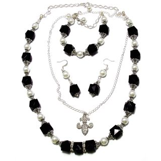 Jet Black Lucite Crystals and White Glass Pearl 4-piece Jewelry Set