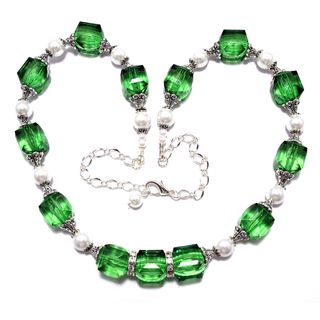Emerald Green Lucite Cube Crystals and White Glass Pearl 4-piece Wedding Jewelry Set