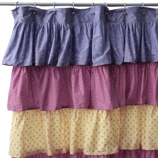 Rosy French Ruffle Shower Curtain