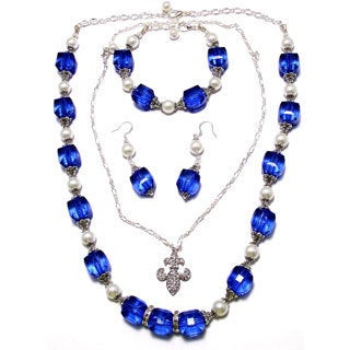 Sapphire Blue Lucite Crystal and White Glass Pearl 4-piece Jewelry Set