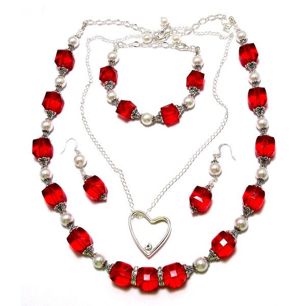 Light Siam Red Lucite Crystal and White Glass Pearls 4-piece Jewelry Set