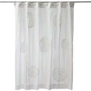 Ruffled Swirls White Cotton Shower Curtain