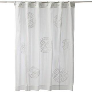 Ruffled Swirls White Cotton Shower Curtain