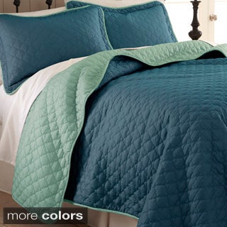 Reversible Two-tone Solid Color 3-piece Coverlet Set